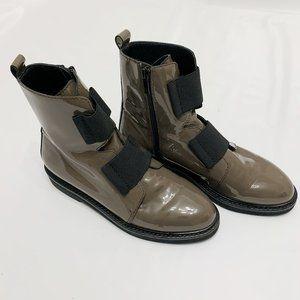 Stuart Weitzman Grey Patent Leather Moto Boots 8